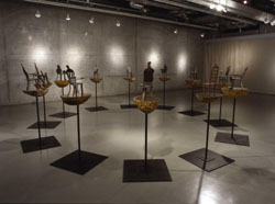 Miniature chairs of iron exhibited